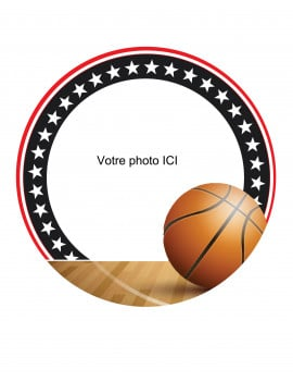 Photo comestible Basketball ronde 20 cm