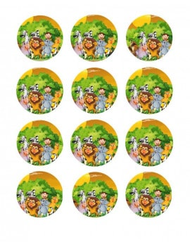 12 Mini disques en sucre jungle