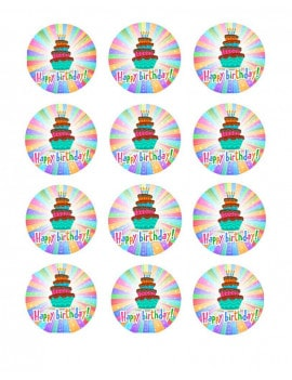 12 Mini disques en sucre Happ birthday