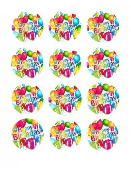 12 Mini disques en sucre Happy birthday