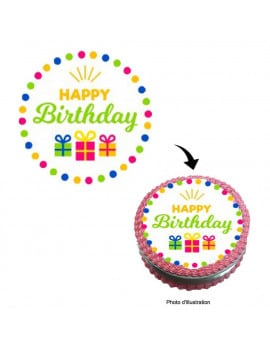 Disque en sucre happy birthday - 20 cm