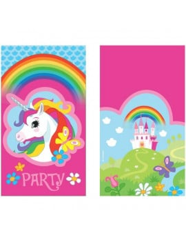 8 invitations licorne