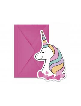 6 Cartes d'invitation licorne Magic Party