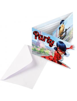 8 invitations Lady Bug + enveloppes