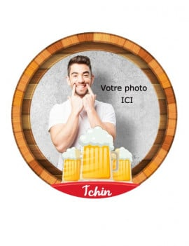 Photo comestible ronde 20 cm - motif bière