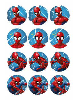 12 disques de cupcakes Spiderman