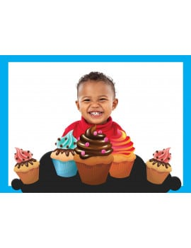 Photo comestible A3 cupcakes - bleu