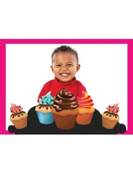 Photo comestible A3 cupcakes - rose