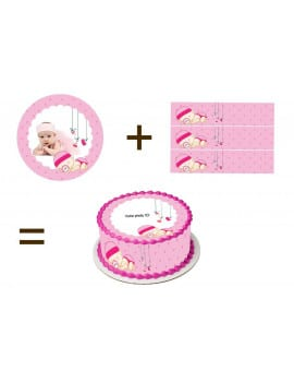 Kit deco de gateau en sucre bebe fille