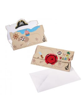 8 invitations pirates + enveloppes