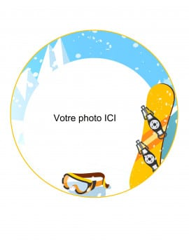 photo comestible ronde snowboard personnalisable