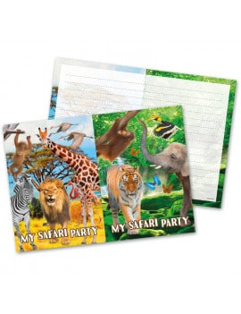 8 cartes d'invitation anniversaire Safari